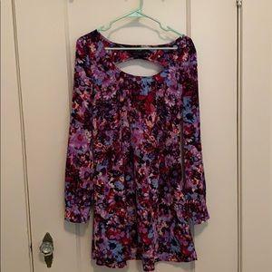 NastyGal Purple Floral shift dress- Size M